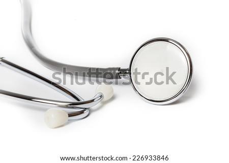 Stethoscope isolated on white background, medical tool - stock photo
