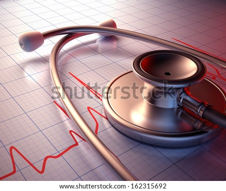 Stethoscope on a graph of the patient's heartbeat. Clipping path included. - stock photo
