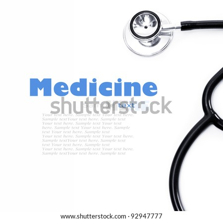 Stethoscope on a white background closeup - stock photo