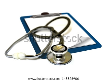 Stethoscope on clipboard - stock photo