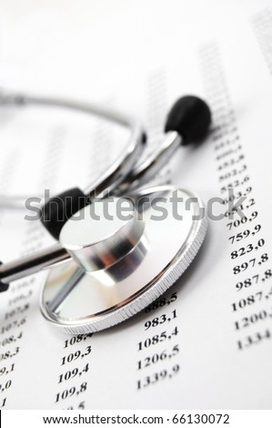 stethoscope on medical data showing medical or hospital concept - stock photo