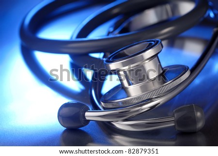 stethoscope on metal deck - stock photo