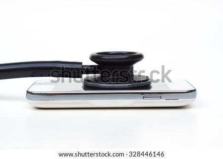 stethoscope on smartphone - checking security on smartphone       - stock photo