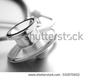 stethoscope on white background close-up and a place for your text - stock photo
