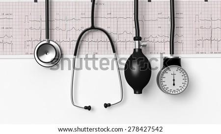 Stethoscope,sphygmomanometer and cardiogram  isolated on white - stock photo