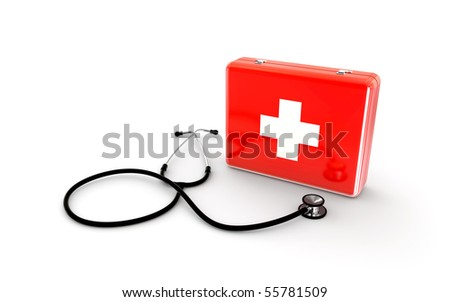 stethoscope with first aid kit