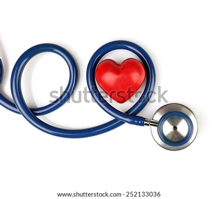Stethoscope with heart isolated on white - stock photo