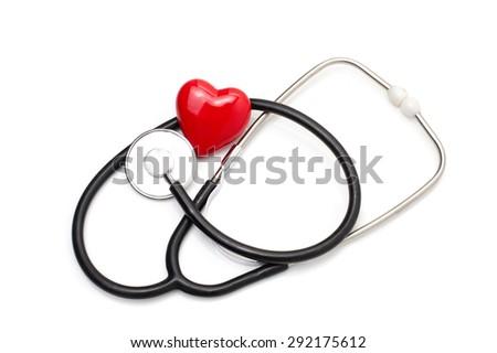 Stethoscope with heart isolated on white background - stock photo