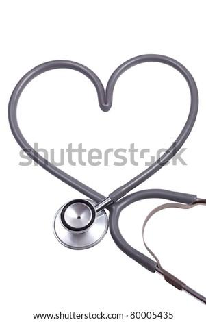 stethoscope with heart shape - stock photo