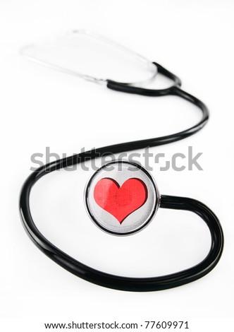 Stethoscope with heart shape design - stock photo