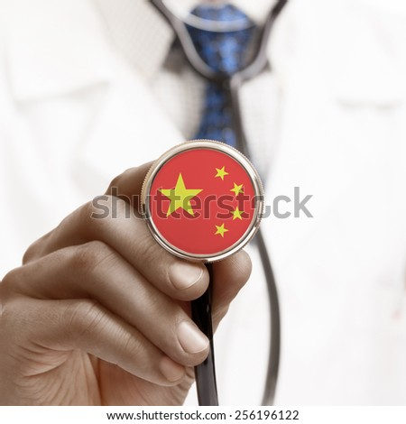 Stethoscope with national flag conceptual series - People's Republic of China - stock photo