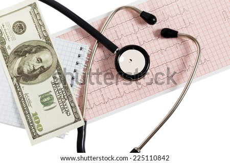 Stethoscope with one hundred dollars and cardiogram isolated on white background - stock photo