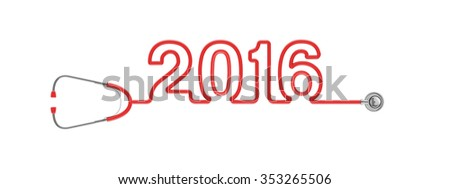 Stethoscope year 2016 / 3D render of stethoscope tubing forming 2016 text