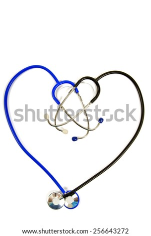 Stethoscopes In Shape Of Heart Isolated On White Background - stock photo
