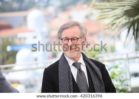 Steven Spielberg attends 'The BFG (Le Bon Gros Geant - Le BGG)' photocall during the 69th annual Cannes Film Festival at the Palais des Festivals on May 14, 2016 in Cannes, France. - stock photo