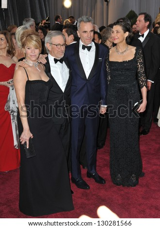 Steven Spielberg & Kate Capshaw & Daniel Day Lewis & Rebecca Miller at the 85th Academy Awards at the Dolby Theatre, Hollywood. February 24, 2013  Los Angeles, CA Picture: Paul Smith - stock photo