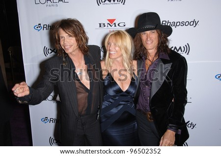 STEVEN TYLER with JOE PERRY & wife BILLIE PERRY at music mogul Clive Davis' annual pre-Grammy party at the Beverly Hilton Hotel. February 7, 2006  Beverly Hills, CA  2006 Paul Smith / Featureflash
