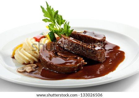 Stew Beef with Vegetables and Celery Cream