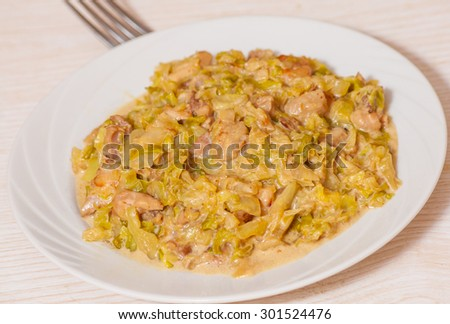 stew cabbage with meat