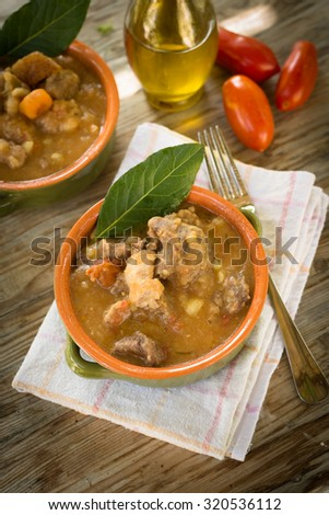 Stew of beef, potato and carrots - stock photo