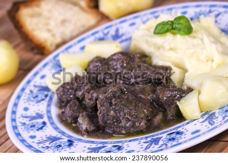 Stew with Mashed Potato - stock photo