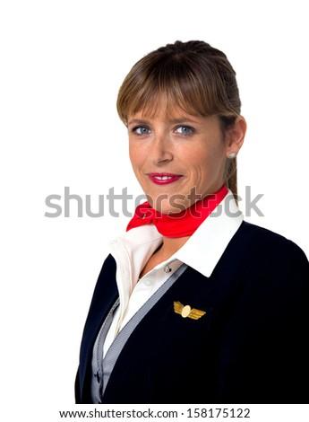 stewardess lady isolated on white - stock photo
