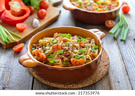 Stewed cabbage with tomatoes and chorizo - stock photo