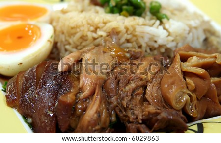 Stewed pork with soya sauce on rice traditional chinese dish