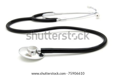 sthetoscope isolated over a white background. Medical instrument for auscultation