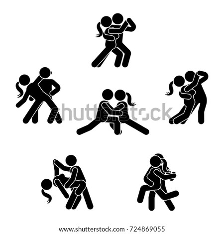 Stick Figure Dancing Couple Set Man Stock Illustration 724869055