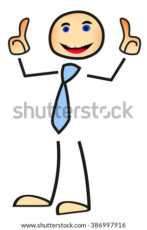 Stick figure holds for consent thumbs up - stock photo