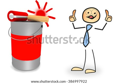 Stick figure with paint bucket and paint roller - stock photo