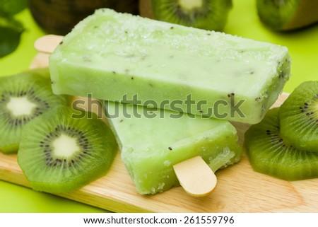 Stick ice cream kiwi flavor - stock photo