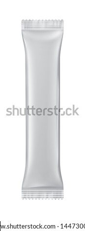 Stick packaging for the product or dry beverage isolated on a white background with reflections and soldering white color - stock photo