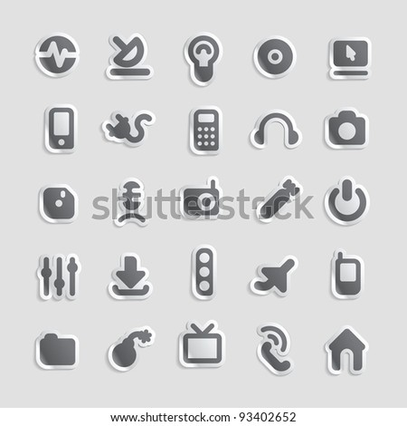 Sticker button set. Icons for industry and technology. Raster version. Vector version is also available. - stock photo