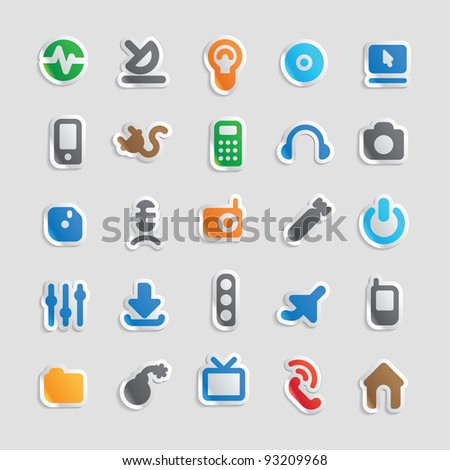 Sticker button set. Icons for technology and industry. Raster version. Vector version is also available.