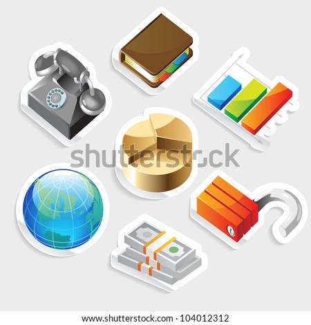 Sticker icon set for business metaphors.  Raster version. Vector version is also available. - stock photo