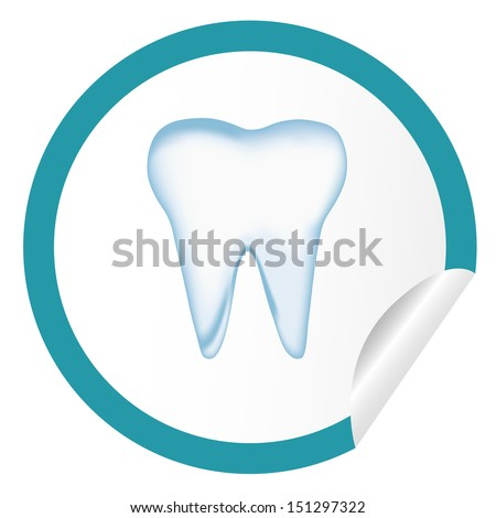 sticker icon web button with tooth. bitmap - stock photo