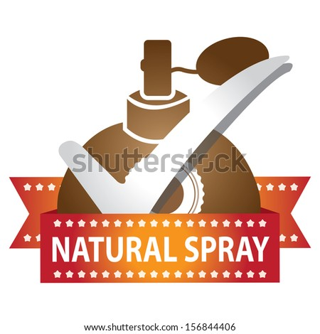 Sticker, Label or Badge For Product Information or Product Ingredient Present By Brown Glossy Style Natural Spray Perfume Bottle Sign With Check Mark Isolated On White Background  - stock photo