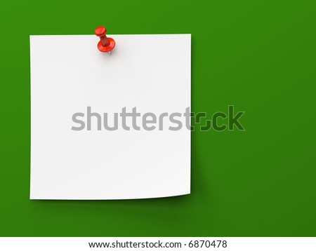 Sticker note isolated on the green background - stock photo