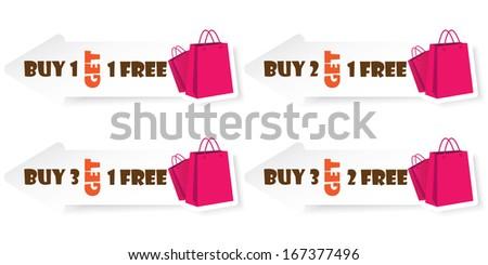 Sticker or Label Buy 1 Get 1 Free, Buy 2 Get 1 Free, Buy 3 Get 1 Free and Buy 3 Get 2 Free.JPG  - stock photo