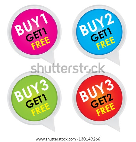Sticker or Label For Marketing Campaign, Buy 1 Get 1 Free, Buy 2 Get 1 Free, Buy 3 Get 1 Free and Buy 3 Get 2 Free With Colorful Icon Isolated on White Background - stock photo