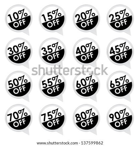 Sticker or Label For Marketing Campaign, 10-90% Off With Black and White Icon Isolated on White Background - stock photo