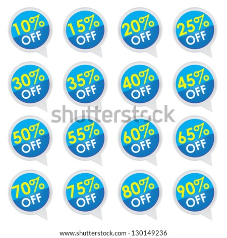 Sticker or Label For Marketing Campaign, 10-90% Off With Blue Icon Isolated on White Background - stock photo