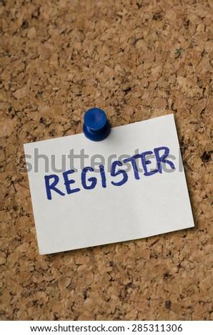 Sticker reminder for registration concept. - stock photo