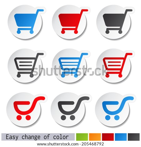 sticker, shopping cart, trolley, item, rounded button
