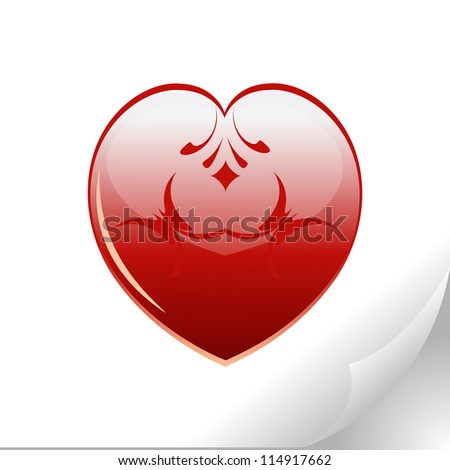 sticker with a bright heart (raster version of the vector) - stock photo