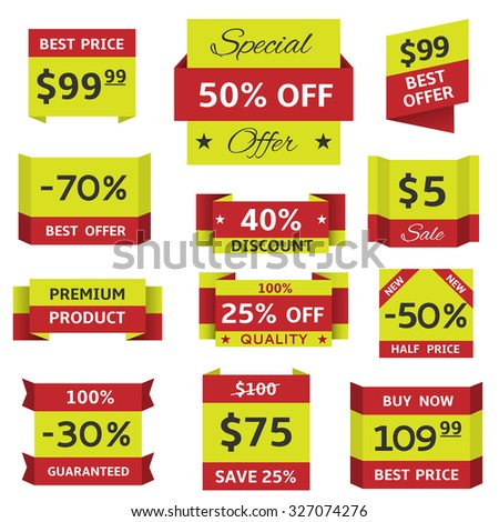 Stickers and banners for website, shop. Raster version - stock photo