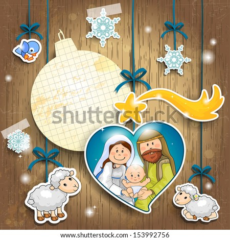 Stickers depicting the characters of the nativity on a wooden background with sheet of paper in the shape of ball where you can enter text - stock photo