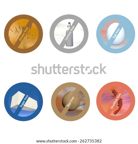 Stickers for allergen free products, such as gluten free, lactose free, wheat free, dairy free, sugar free, nut free, egg free and shellfish free - stock photo